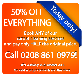 This carpet cleaning voucher code is only valid on 23 October 2012