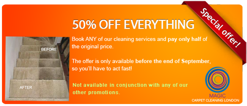 Summer sale on London carpet cleaning services: 50% OFF everything (expires in September 2012)