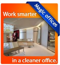 a clean reception area in an office